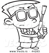 Vector of a Secret Agent Cartoon Boy Holding a Pistol - Coloring Page Outline by Toonaday