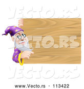 Vector of a Senior Wizard Man Pointing Around a Plank Wooden Sign by AtStockIllustration