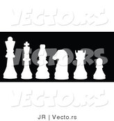 Vector of a Series of White Chess Pieces by JR