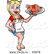 Vector of a Sexy Cartoon Female Pig Waitress Serving BBQ Ribs by LaffToon
