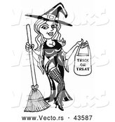 Vector of a Sexy Cartoon Halloween with Candy Bag and Broom Stick - Black and White by LaffToon