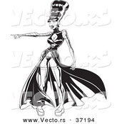 Vector of a Sexy Frankenstein Bride Pointing Towards Something - Black and White Line Art by Lawrence Christmas Illustration