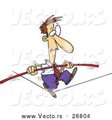 Vector of a Shaky Businessman Walking Tight Rope Nervously - Cartoon Style by Ron Leishman