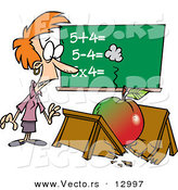 Vector of a Shocked Cartoon Teacher Looking at Broken Desk with Big Apple over It by Toonaday