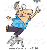 Vector of a Short Cartoon Man Standing on a Ladder While Trying to Install a Light Bulb by Toonaday