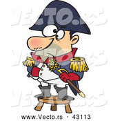 Vector of a Short Cartoon Military Captain Standing on a Stool by Toonaday