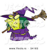 Vector of a Short Cartoon Witch Walking with Broomstick over Her Shoulder on Halloween by Toonaday