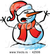 Vector of a Shouting Cartoon Snowman by Zooco