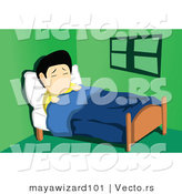 Vector of a Sick Asian Guy Resting in His Bedroom by Mayawizard101