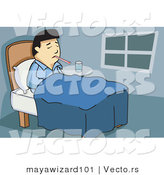 Vector of a Sick Asian Man Laying in Bedroom with a Thermometer in His Mouth by Mayawizard101