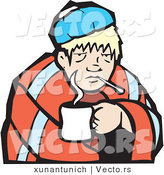 Vector of a Sick Boy Under a Blanket with a Cup of Tea by Xunantunich