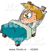 Vector of a Sick Cartoon Boy Resting in Bed with the Measles by Toonaday