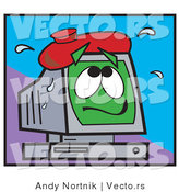 Vector of a Sick Cartoon Computer with an Ice Pack on Top of Monitor by Andy Nortnik