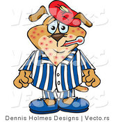 Vector of a Sick Cartoon Dog with Chicken Pox and a Fever by Dennis Holmes Designs
