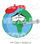 Vector of a Sick Cartoon Earth Wearing Ice Pack While Checking Temperature with a Thermometer by Hit Toon