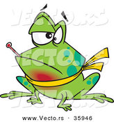 Vector of a Sick Cartoon Frog with Sore Throat and Fever by Toonaday