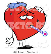 Vector of a Sick Cartoon Love Heart Wearing Ice Pack While Checking Temperature with Thermometer by Hit Toon
