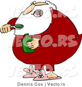 Vector of a Sick Cartoon Santa Taking Cough Syrup Medicine by Djart