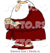 Vector of a Sick Cartoon Santa Taking Pills by Djart