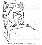 Vector of a Sick Cartoon Woman Laying in Bed with a Fever - Line Drawing by Toonaday
