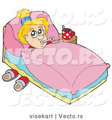 Vector of a Sick Child Resting in Her Bedroom by Visekart