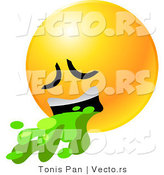 Vector of a Sick Emoticon Vomiting Green Liquid by Tonis Pan