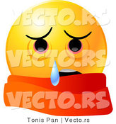 Vector of a Sick Emoticon Wearing a Red Scarf and Crying by Tonis Pan