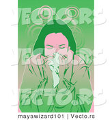 Vector of a Sick Girl Blowing Her Nose into a Tissue by Mayawizard101