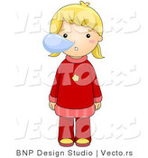 Vector of a Sick Girl Blowing Snot Bubbles from Her Nose by BNP Design Studio
