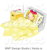 Vector of a Sick Girl Laying in Medical Bed While Getting Here Temperature Taken with a Thermometer by BNP Design Studio