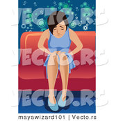 Vector of a Sick Girl Sitting on a Couch at a Party by Mayawizard101