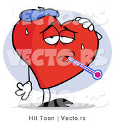Vector of a Sick Love Heart Cartoon Character by Hit Toon