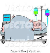 Vector of a Sick Pig Laying in a Hospital Bed by Djart