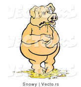 Vector of a Sick Pig Standing in His Puke by Snowy