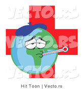 Vector of a Sick Planet Earth with Medical Red Cross by Hit Toon
