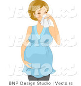 Vector of a Sick Pregnant Girl Blowing Her Nose by BNP Design Studio
