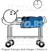 Vector of a Sick Stick Man with a Fever by Pams Clipart