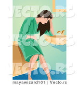 Vector of a Sick Young Lady Resting Against a Bathroom Sink by Mayawizard101