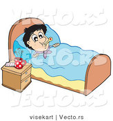 Vector of a Sick Young Man at Rest in His Bed by Visekart