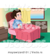 Vector of a Sick Young Man Sitting in Bed with a Thermometer and Glass of Water by Mayawizard101