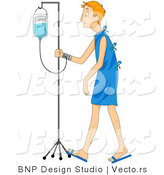 Vector of a Sick Young Man Walking with IV in a Hospital by BNP Design Studio