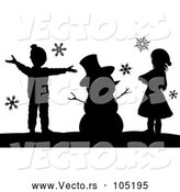 Vector of a Silhouetted Christmas Snowman with KChildren by AtStockIllustration