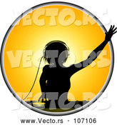 Vector of a Silhouetted Dj Woman over a Record Deck in a Yellow Circle by Elaineitalia