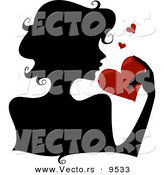Vector of a Silhouetted Girl Holding a Red Love Heart by BNP Design Studio