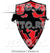 Vector of a Silhouetted Knight Pointing Lance While Charging Forward on His Horse by Chromaco