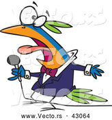 Vector of a Singing Cartoon Bird Holding a Microphone by Toonaday
