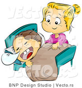 Vector of a Sister Caring for Her Sick Brother Laying in Bed with Snot Bubble Forming from His Nose by BNP Design Studio