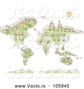 Vector of a Sketched Map with Plants and Gardens by BNP Design Studio