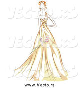Vector of a Sketched Woman in a Beautiful Yellow Gown by BNP Design Studio