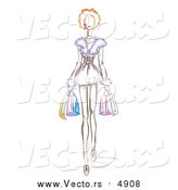Vector of a Sketched Woman Wearing a Fur Dress and Carrying Shopping Bags, by BNP Design Studio